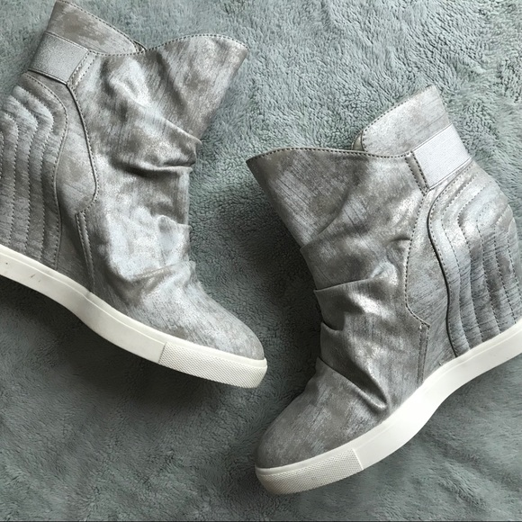 6e870f045dca Jennifer Lopez Shoes - Jennifer Lopez Frannie Wedge Sneaker Silver Shoes